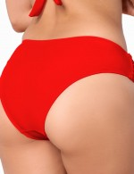 Simply Chic Red Ruched Bikini Bottoms Low Waist Ultra Sexy