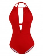 Sophisticated Red Halter Neck One Piece Swimwear Low Back Online