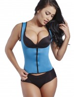 Firm Compression Sky Blue Zipper Body Shaper Low Neck