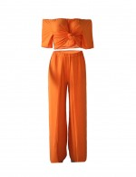 Uniquely Orange Short Sleeves Waist Tie Cropped Set Quality