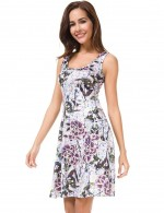 Intriguing Flower Defined Waist Mini A-Line Dress Workout