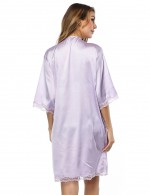 Light Purple Lace Edge Cardigan Nightgown Faux Silk Cheap