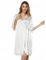 White Knot Cardigan Satin Faux Silk Bedgown Allover Comfortable
