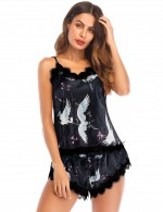Starry Print Lace Trim Backless 2 Pcs Sleepwear All Over Smooth