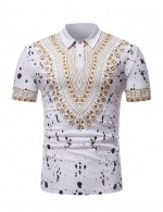 Unique White Splashing Ink Tribal Male Top Polo Womens Designer Clothing