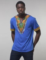 Online Blue V Collar African Male T-Shirt Trendy Clothes