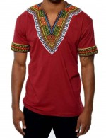 Luscious Curvy Red Short Sleeves African Male Top Charming Fashion