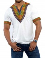 Fitness White Tribal Print V Neck Men Shirt