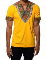Breathable Yellow V Neck Tribal Men Top Short Sleeves Chic Trend