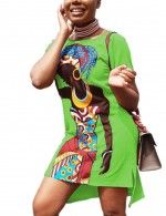 Diva Slit Green Short Sleeve Mini Dress Ethnic Print