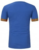 Blue V Collar African Pattern Male Top Short Sleeve Relax Fit