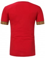 Young Red Short Sleeve African Print Male T-Shirt V Neck Fashion