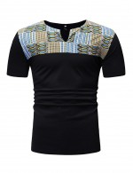 Striking Black Tribal Print Short Sleeve Men T-Shirt Round Neck
