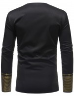 Black Long Sleeve African Pattern Plus Size T-Shirt Men Latest Styles