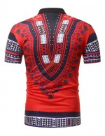 Sheer Red Polo Neck Dashiki Short Sleeve Men T-Shirt Natural Fit