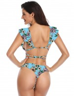 Unforgettable Blue Strappy Ruffle Floral Print Bikini Tie Wholesale