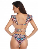 Sunkissed Geometric Print Backless Bikini Flounce For Woman