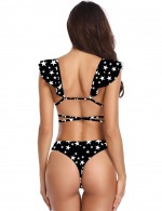 Attactive Star Print Flounce Strappy Bikini Backless Slim