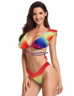 Captivating High Cut Ruffle Strappy Bikini V Neck For Beauty