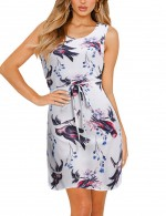 Curve Smoothing Tie Print Big Size Mini Dress Sleeveless