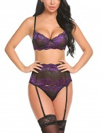 Delicate Purple Lace Scallop Bralette Set Garter Belt All Over Comfy