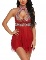 Magnificent Wine Red Backless Perspective Mesh Chemises Lace Girl's