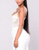 Ecstasy White Perspective Lace Stitch Sling Teddy All Over Modern Fit