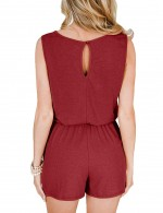 Remarkable Pocket Side Wine Red Button Short Sleeve Jumpsuit Fashion