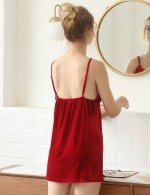 Cheeky Red Velvet Slit Sling Chemises Backless Exotic Cutie