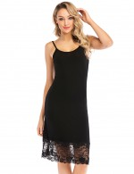 Black Lace Patchwork Sling Sleepwear Backless Allover Slim Fit