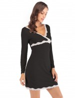 Smooth Black Long Sleeves Modal Lace Nightdress Beautiful Addition