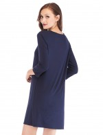 Garnet Navy Blue Mini Length Modal Lace V Neck Sleepwear Online Cheap