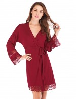Spectacular Wine Red Lace Modal Waist Tie Bedgown Cardigan Slim Fitting