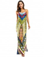 Yellow Open Back Ethnic Print Side Slit Maxi Dress Supper Fashion