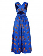 Daring African Print Blue Open Back V Neck Maxi Dress For Girls