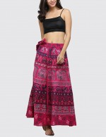 Slender Tribal Pattern Side Knot Waist Skirt Online Sale