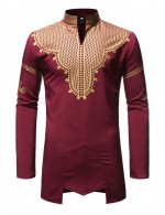 Sheer Stand Collar Red Hot Stamping Male Shirt African Cheap Online