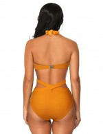 Yellowish Brown 2 Pcs Backless Halter High Cut Swimsuit Cross Feminine Charm
