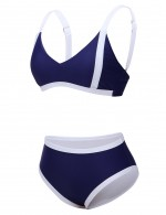 Spectacular Dark Blue Contrast Color 2 Pcs Open Back Swimwear Tie Natural