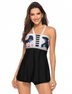 Sweet Fantasies Print Knot Queen Size Tankini Backless Seaside Vacation