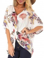 Enthralling White Tangle Up Short Sleeves Blouse Floral Fashion