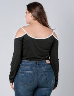 Detachable Black Cold Shoulder Big Size Bodysuit Backless Latest Trends