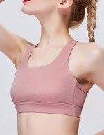 Pretty Light Pink U Neck Mesh Y-Shaped Fitness Bra Women's Essentials