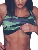 Tight Green Widened Hem I-Shaped Active Bra Camouflage Form Fit