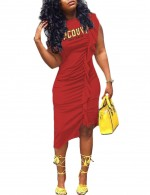 Energetic Frill Red Sleeveless Print Midi Dress Plus Size Women