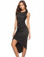 Nicely Black Wide Tangle Up Ruched Inverted Midi Dress Super Sexy