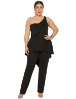 Incredible Black One Shoulder Backless Large Size Jumpsuit High Quality