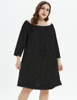 Glamorous Lace Long Sleeve Black Queen Size Midi Dress Female Charm