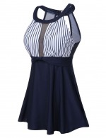 Captivating Dark Blue Mesh Open Back Big Size Tankini Hook Beach Stunner