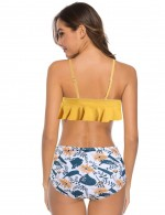 Splendor Yellow Floral Backless Frill Two Piece Swimsuit Casual Women